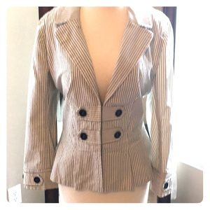 Pinstripe Loft size 12 blazer with button details.